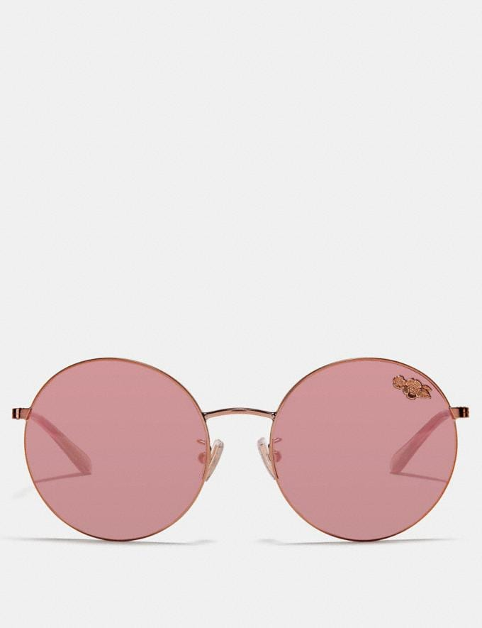Coach Thin Metal Round Sunglasses Rose Gold Women Accessories Sunglasses Alternate View 2