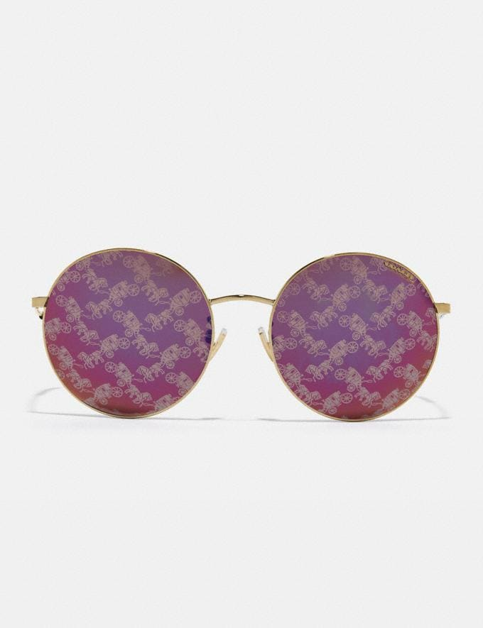 Coach Thin Metal Round Sunglasses Burgundy/Hc Mirror Women Accessories Sunglasses Alternate View 2