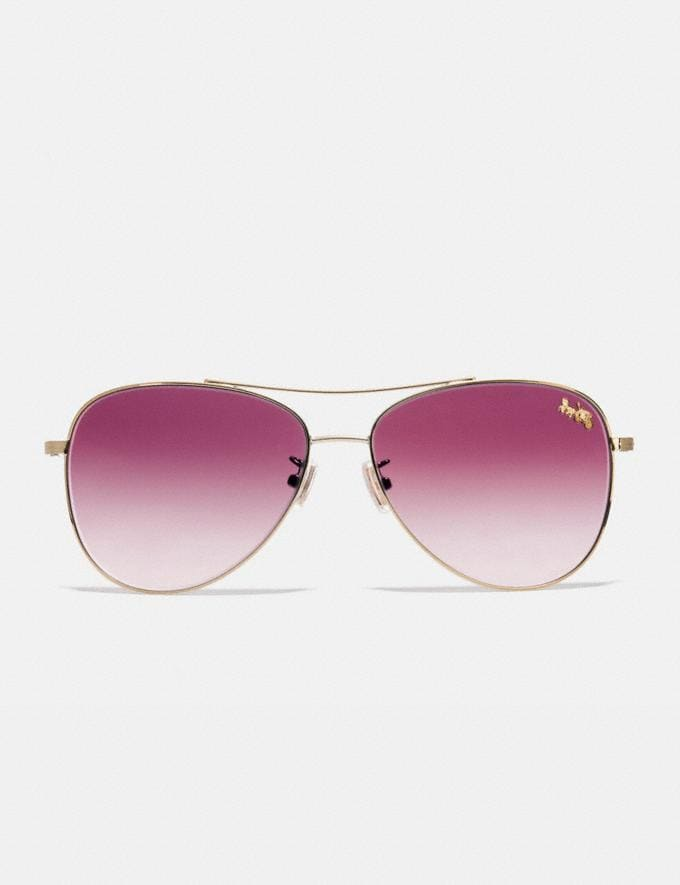 Coach Thin Metal Pilot Sunglasses Light Gold/Burgundy Gradient Women Accessories Sunglasses Alternate View 2