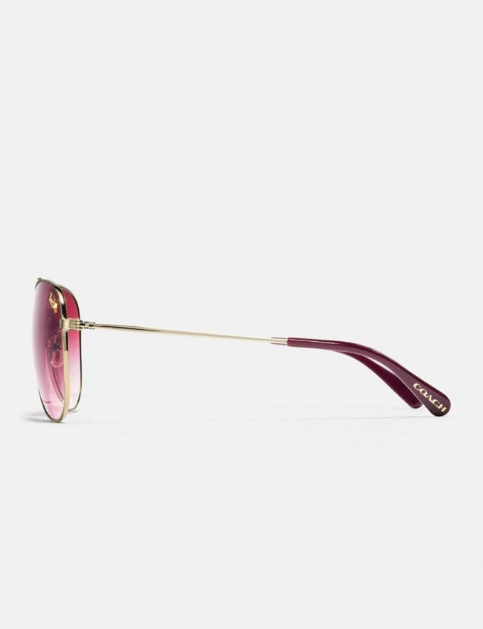 Coach Thin Metal Pilot Sunglasses Light Gold/Burgundy Gradient Women Accessories Sunglasses Alternate View 3