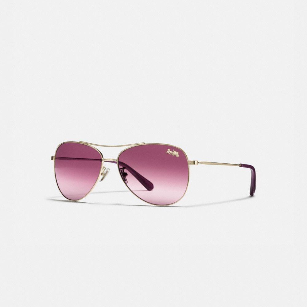 Coach Thin Metal Pilot Sunglasses