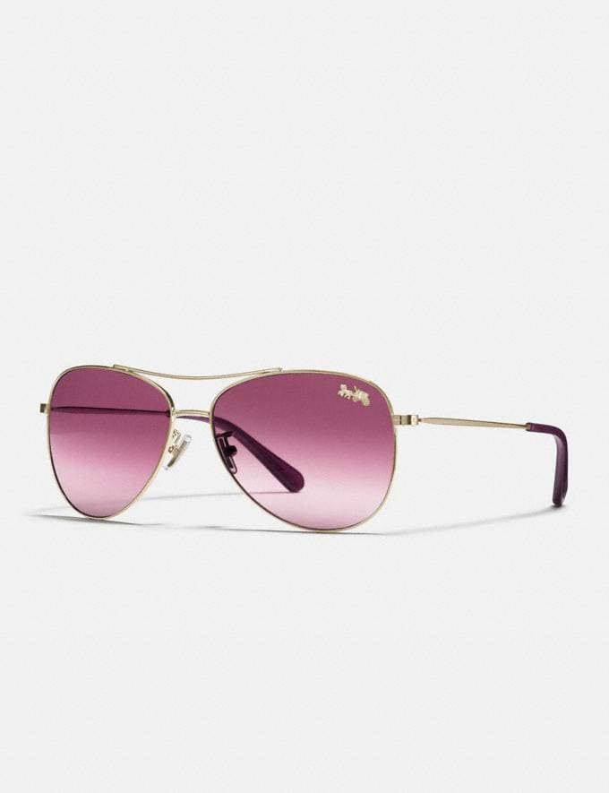 Coach Thin Metal Pilot Sunglasses Light Gold/Burgundy Gradient Women Accessories Sunglasses