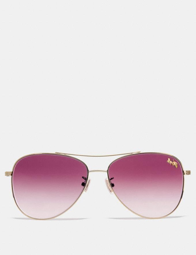 Coach Thin Metal Pilot Sunglasses Light Gold/Burgundy Gradient Women Edits Summer Picks Alternate View 2