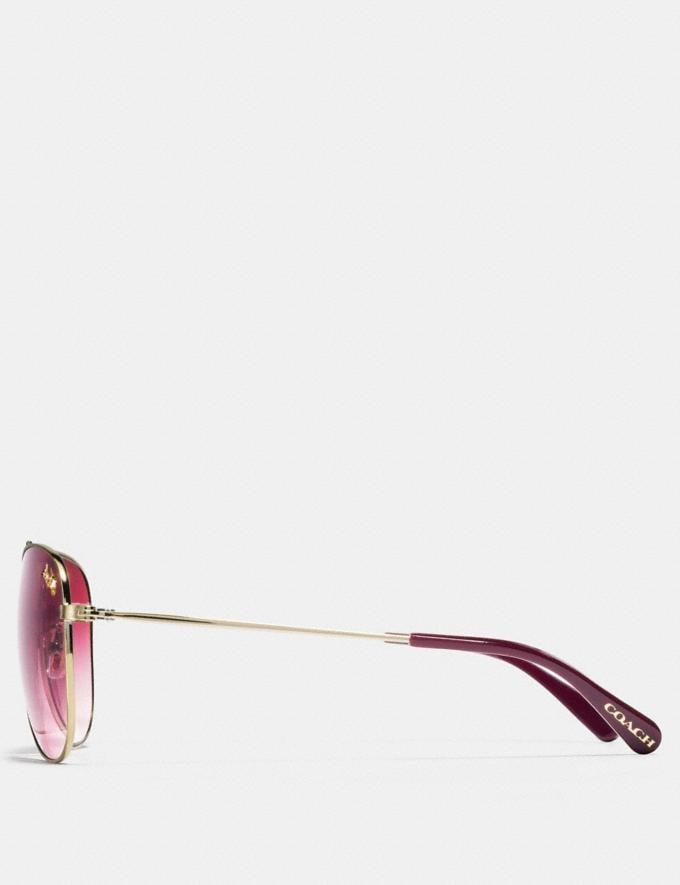 Coach Thin Metal Pilot Sunglasses Light Gold/Burgundy Gradient Women Edits Summer Picks Alternate View 3