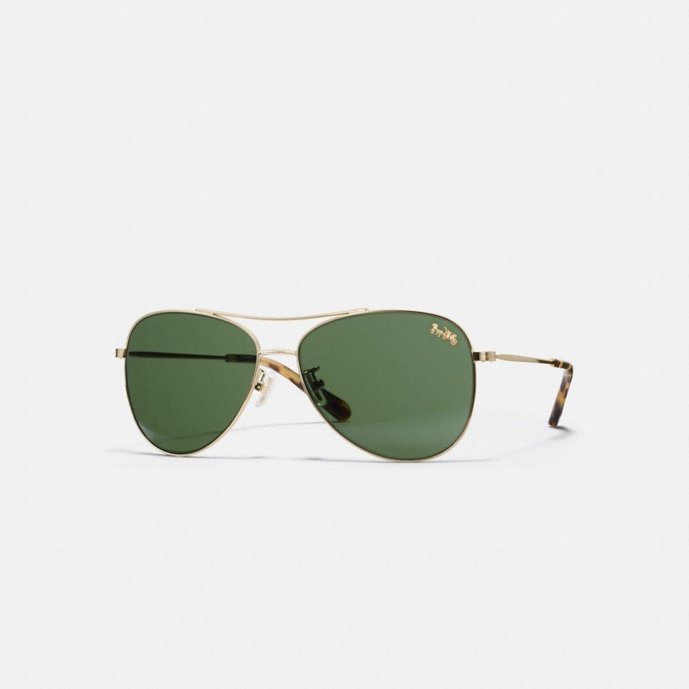Coach Thin Metal Pilot Sunglasses