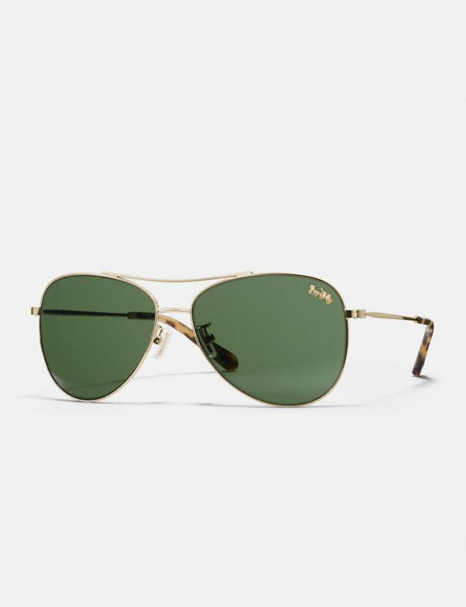 Coach Thin Metal Pilot Sunglasses Light Gold/Dark Green Solid Women Accessories Sunglasses