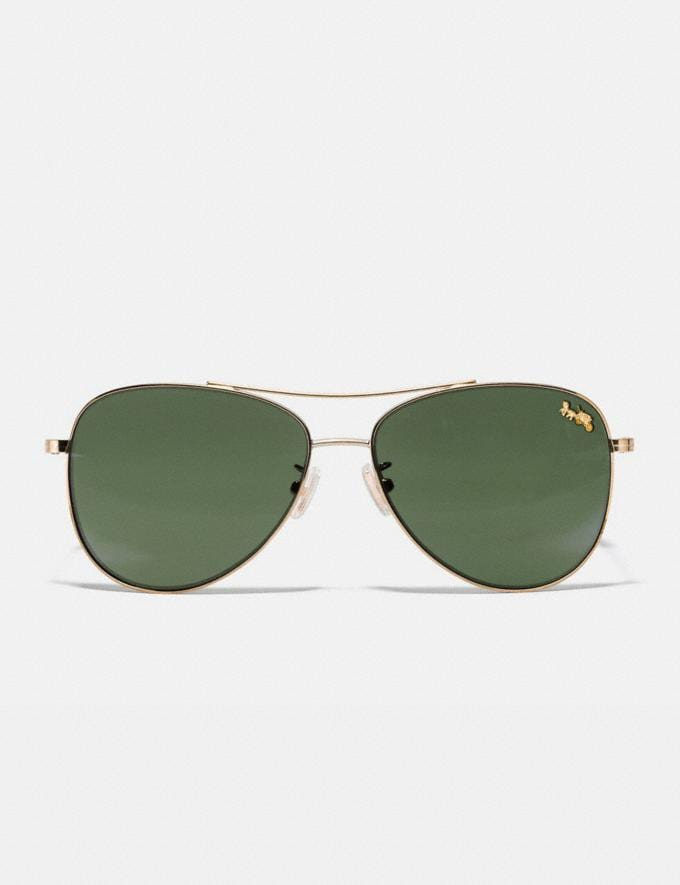 Coach Thin Metal Pilot Sunglasses Light Gold/Dark Green Solid Women Accessories Sunglasses Alternate View 2
