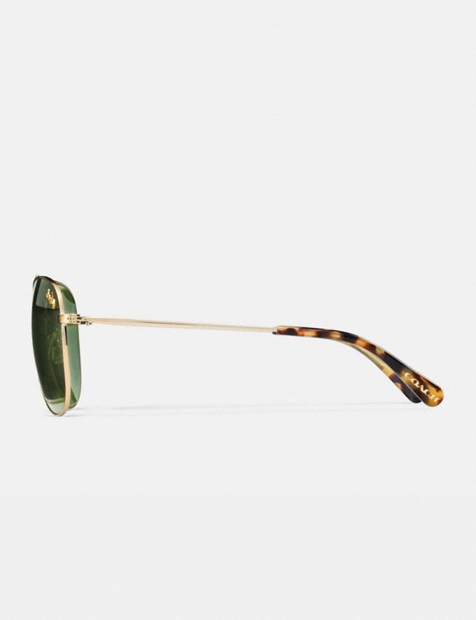 Coach Thin Metal Pilot Sunglasses Light Gold/Dark Green Solid Women Accessories Sunglasses Alternate View 3