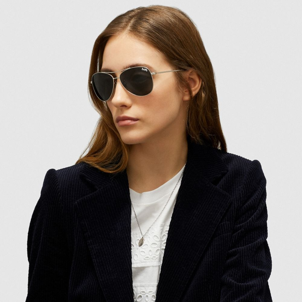 Coach Thin Metal Pilot Sunglasses Alternate View 1