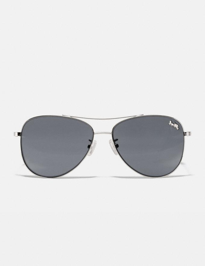 Coach Thin Metal Pilot Sunglasses Shiny Silver/Dark Grey Solid Women Accessories Alternate View 2
