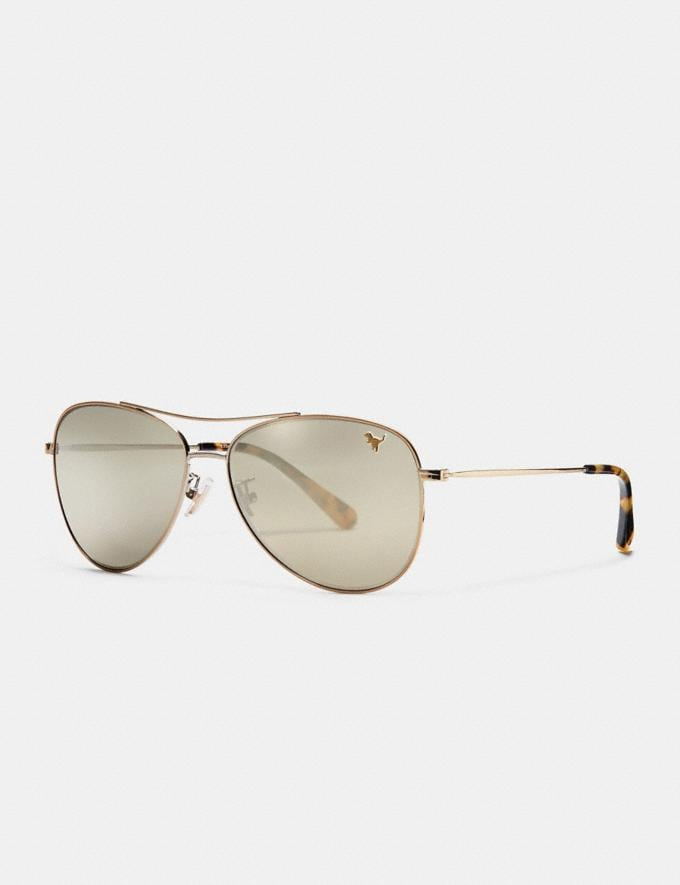 Coach Thin Metal Pilot Sunglasses Light Gold/Gold Mirror Rexy Women Accessories Sunglasses