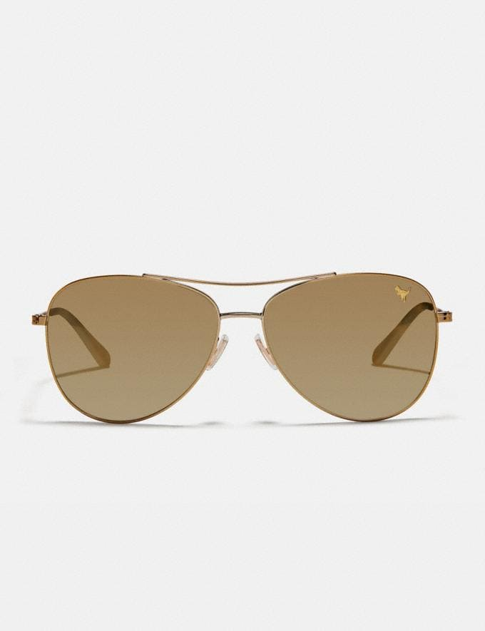 Coach Thin Metal Pilot Sunglasses Light Gold/Gold Mirror Rexy Women Accessories Sunglasses Alternate View 2