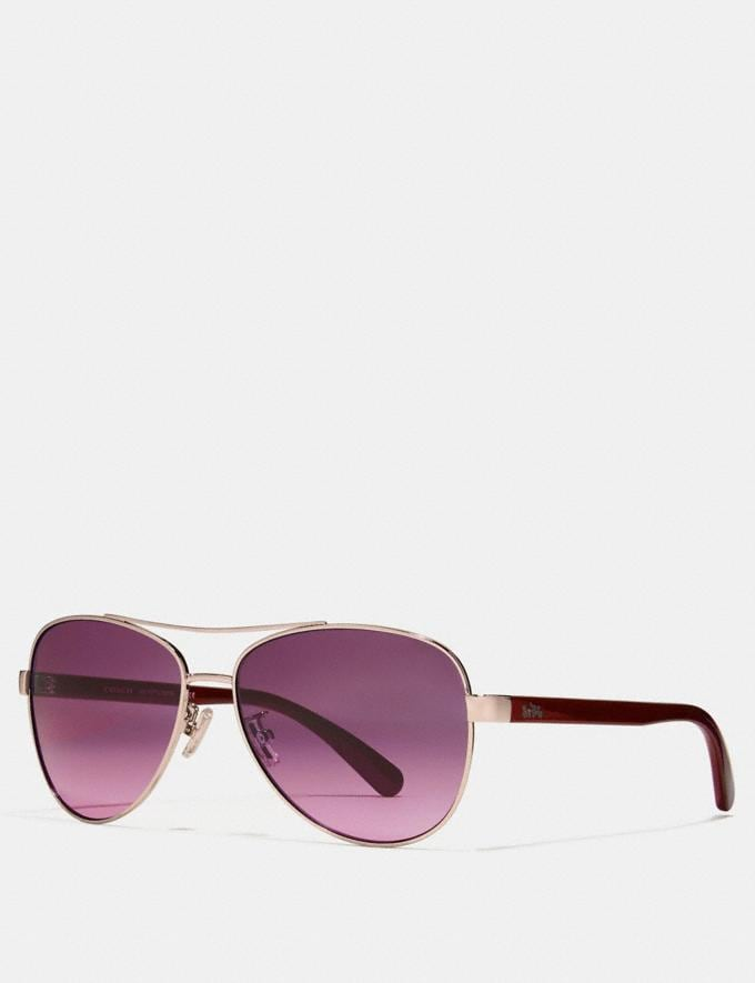 Coach Horse and Carriage Pilot Sunglasses Shiny Li Gold/Berry