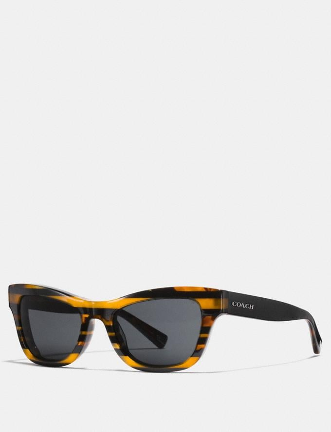 Coach Glitter Cat Eye Varsity Stripe Sunglasses Black Amber Glitter Varsity Stripe CYBER MONDAY SALE Men's Sale Accessories