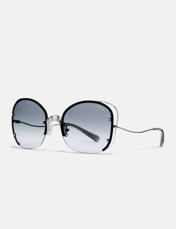 Coach Open Wire Sunglasses Gunmetal/Blue Gradient Women Accessories Sunglasses