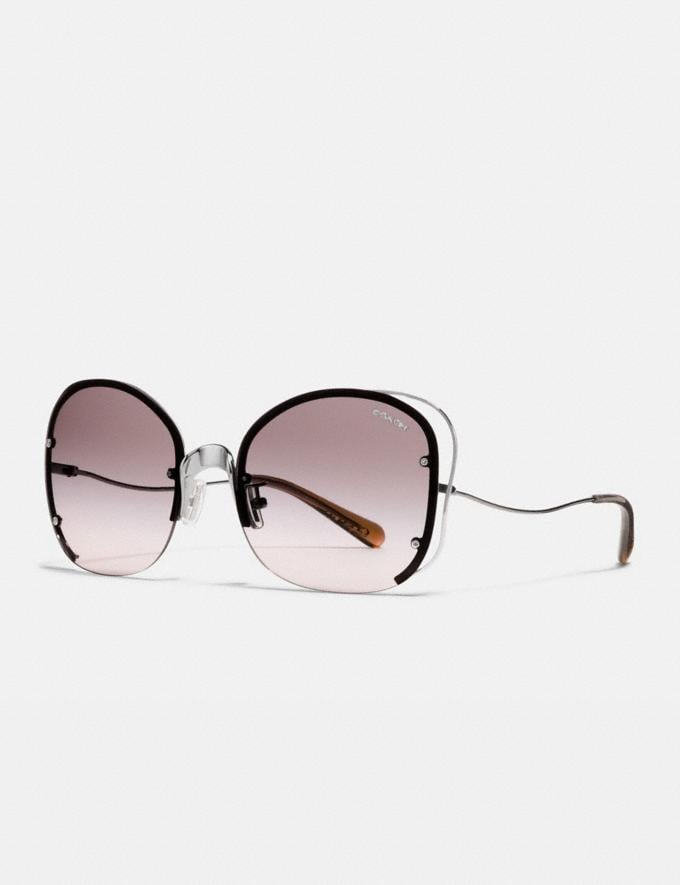 Coach Open Wire Sunglasses Gunmetal/Pink Brown Gradient Women Accessories Eyewear