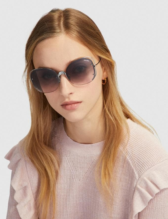 Coach Open Wire Sunglasses Gunmetal/Pink Brown Gradient Women Edits Your Life, Your Coach Alternate View 1