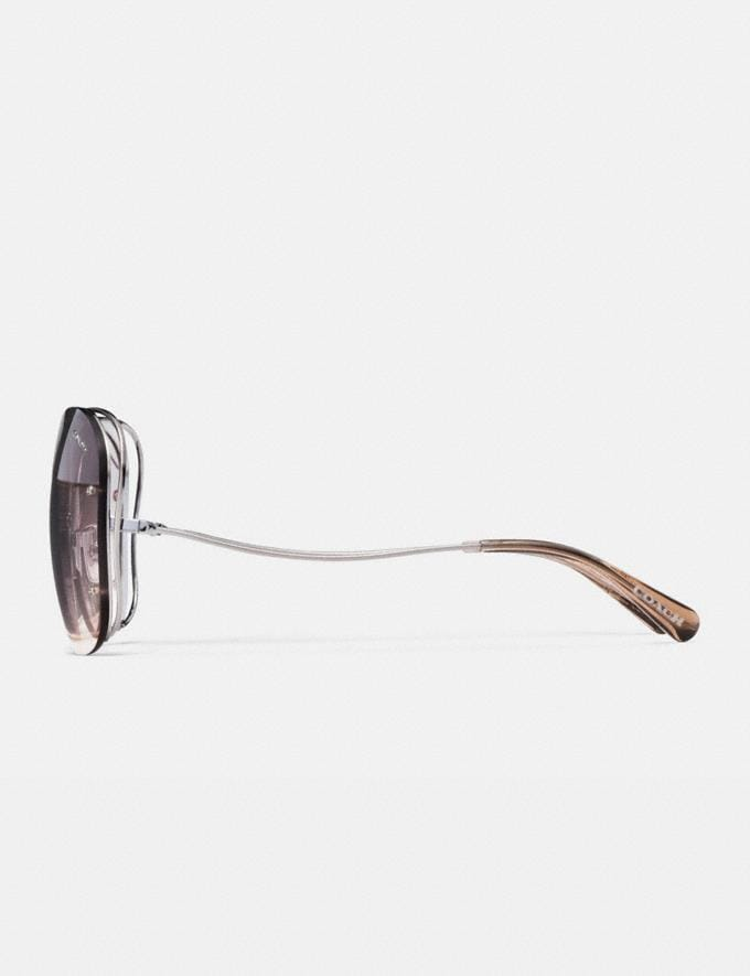 Coach Open Wire Sunglasses Gunmetal/Pink Brown Gradient Women Edits Your Life, Your Coach Alternate View 3