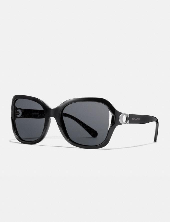 Coach Signature Hardware Rectangle Sunglasses Black Women Accessories Sunglasses