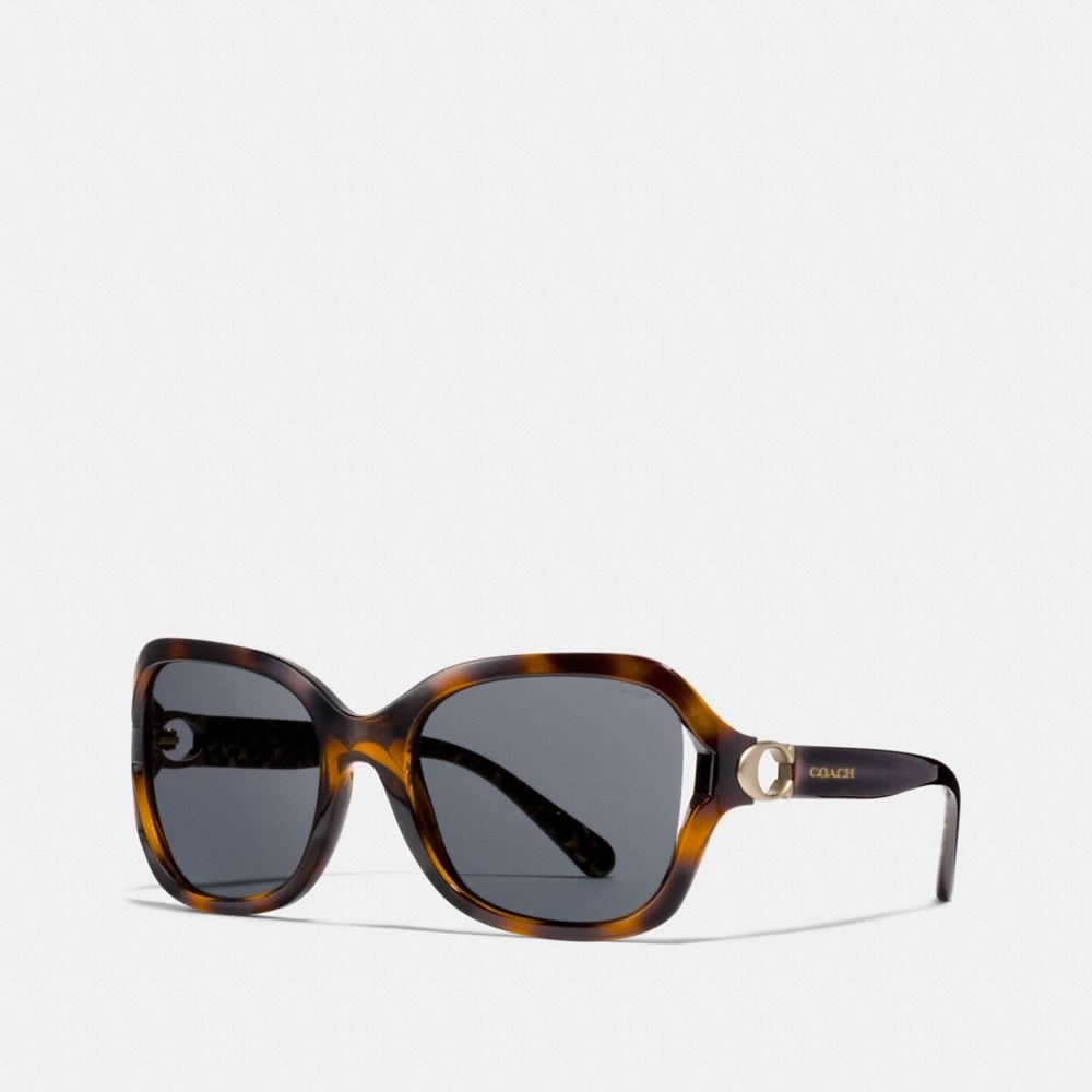 Coach Signature Hardware Rectangle Sunglasses