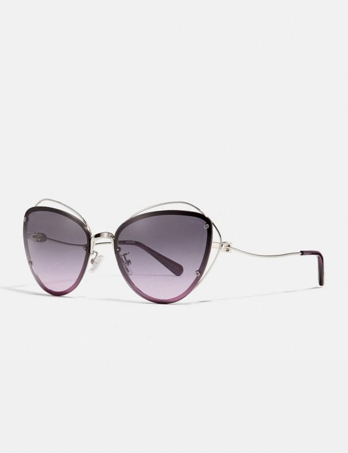 Coach Open Wire Cat Eye Sunglasses Silver/Purple Gradient