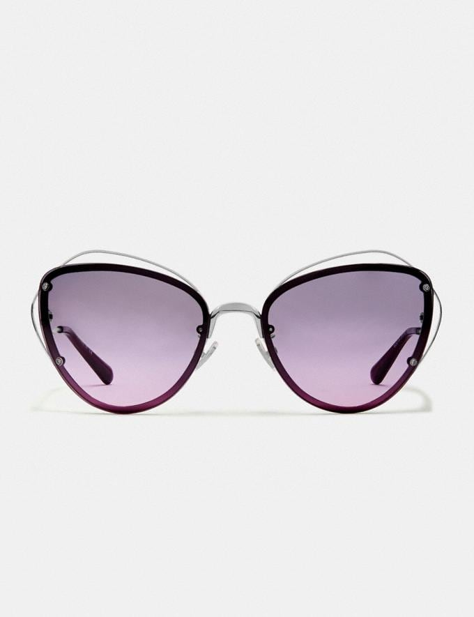 Coach Open Wire Cat Eye Sunglasses Silver/Purple Gradient  Alternate View 2