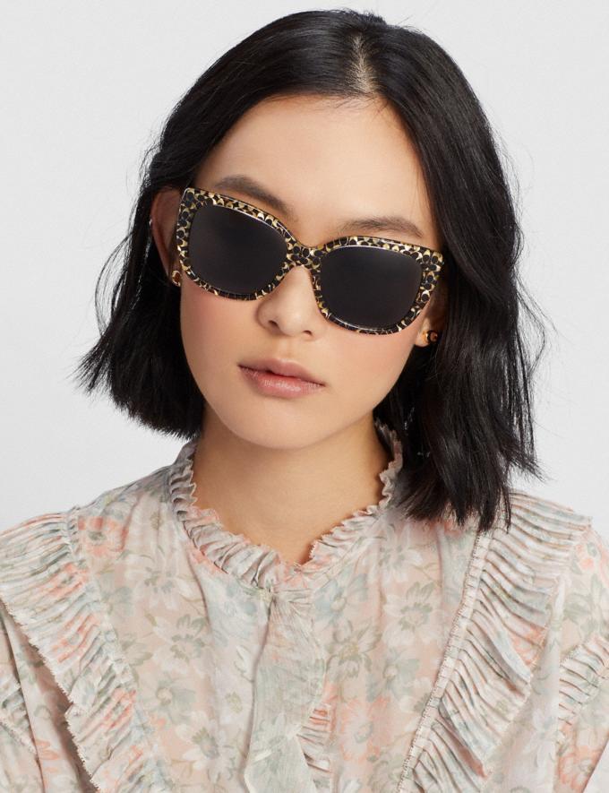 Coach Ombre Signature Square Sunglasses Spotty Tortoise Women Accessories Sunglasses Alternate View 1