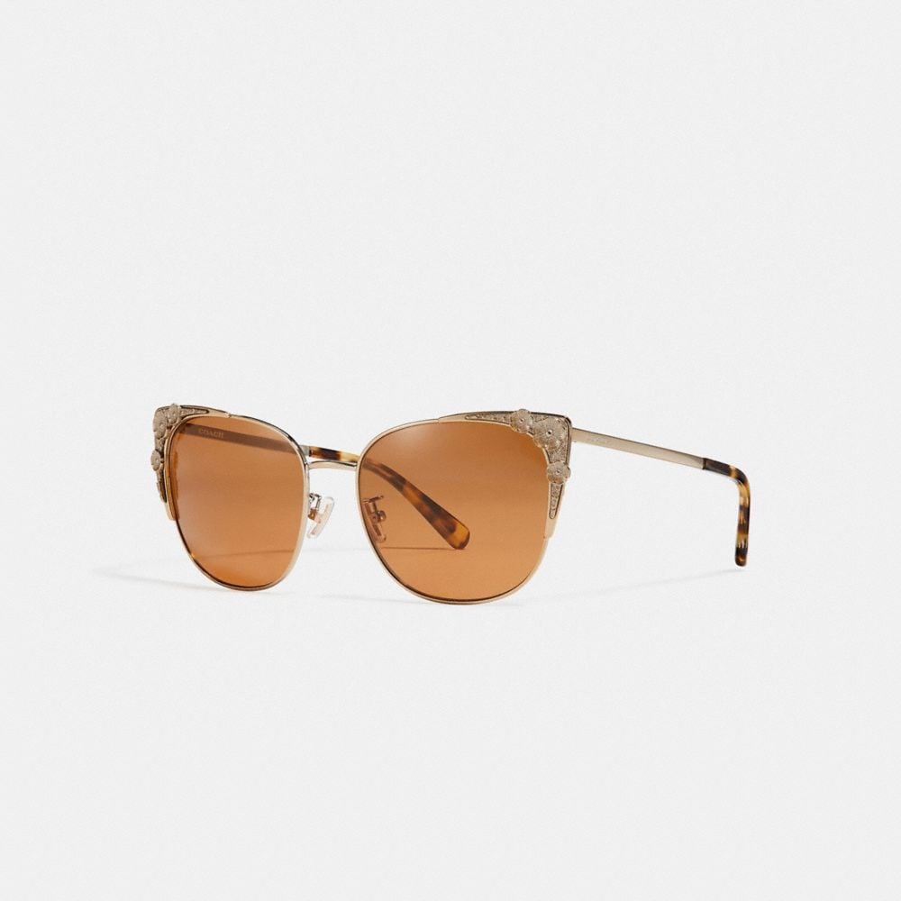 METAL TEA ROSE CAT EYE SUNGLASSES