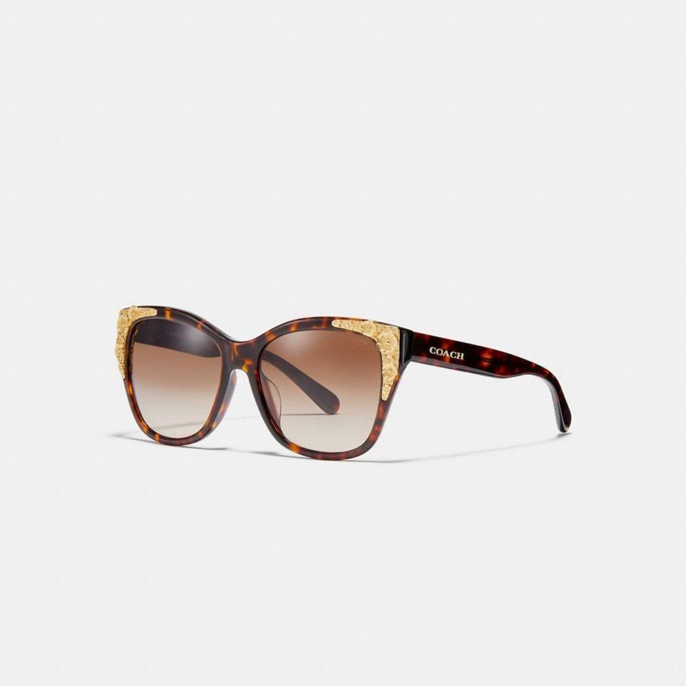 Coach Metal Tea Rose Square Sunglasses