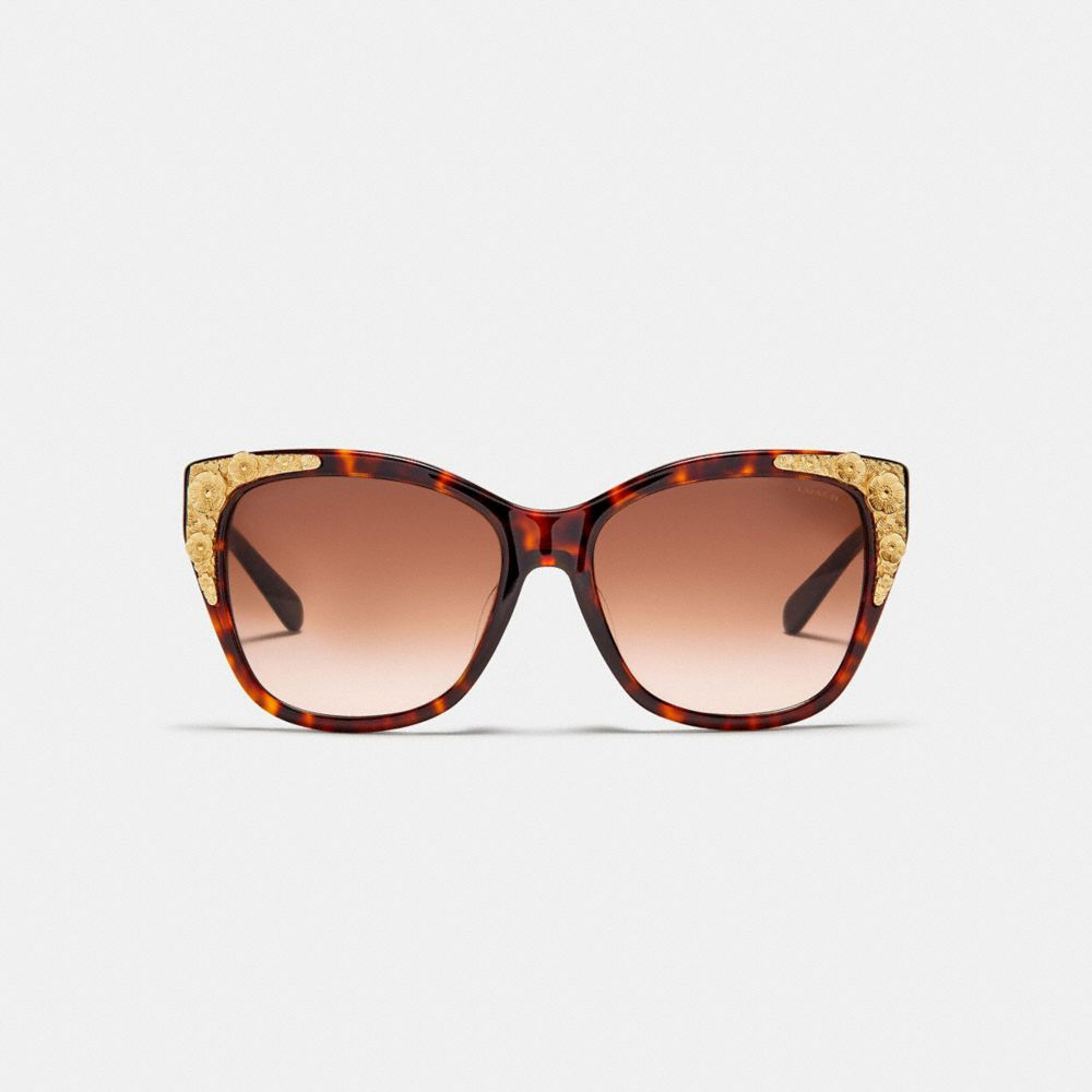 Coach Metal Tea Rose Square Sunglasses Alternate View 2
