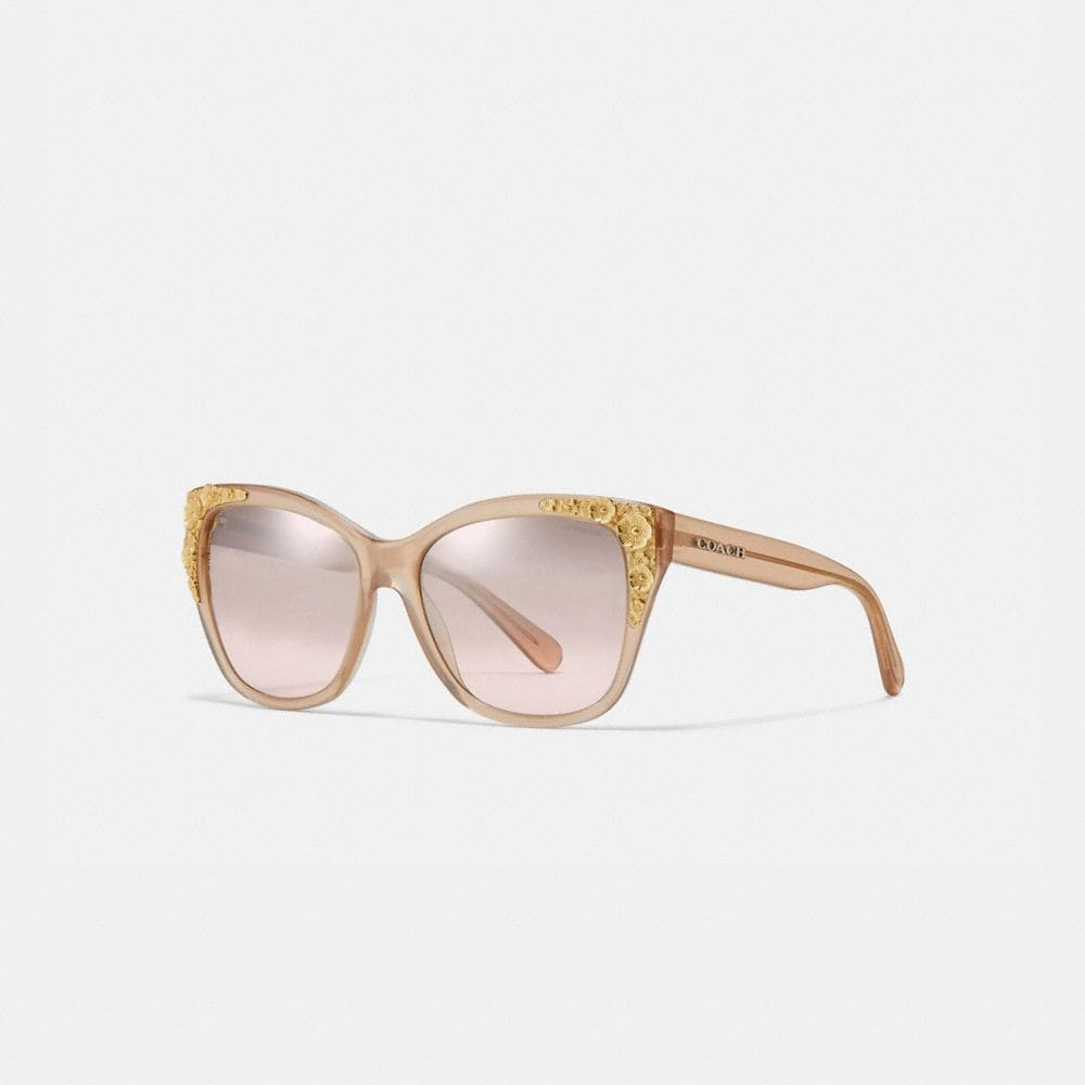 Coach Metal Tea Rose Square Sunglasses