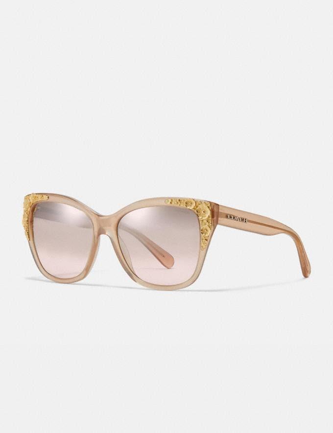 Coach Metal Tea Rose Square Sunglasses Milky Pink Champagne/Silver Pink Gradient Flash Women Accessories Sunglasses