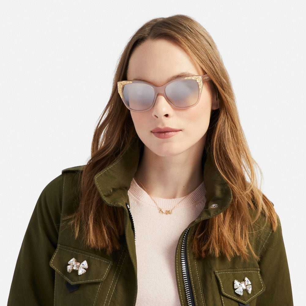 Coach Metal Tea Rose Square Sunglasses Alternate View 1