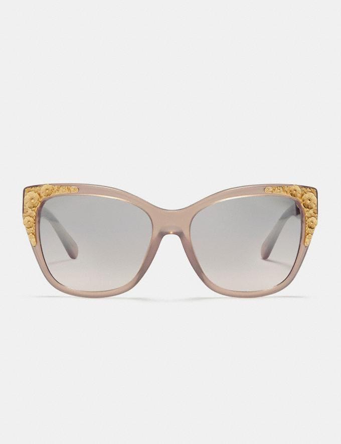 Coach Metal Tea Rose Square Sunglasses Milky Pink Champagne/Silver Pink Gradient Flash Women Accessories Sunglasses Alternate View 2
