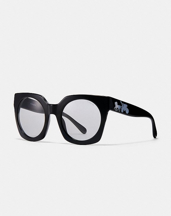 247fdd356d3d Shoptagr | Horse And Carriage Hologram Sunglasses by Coach