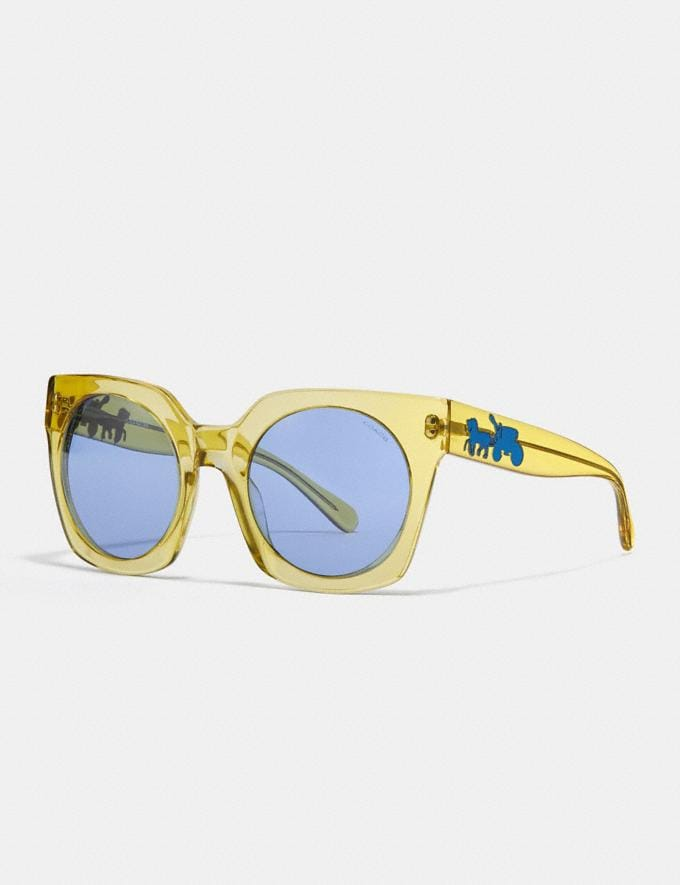 Coach Horse and Carriage Hologram Sunglasses Yellow Translucent/Light Blue Solid Women Accessories Sunglasses