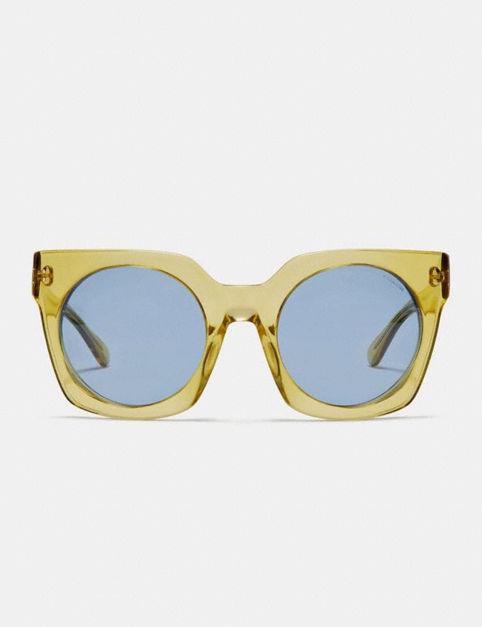 Coach Horse and Carriage Hologram Sunglasses Yellow Translucent/Light Blue Solid Women Accessories Sunglasses Alternate View 2