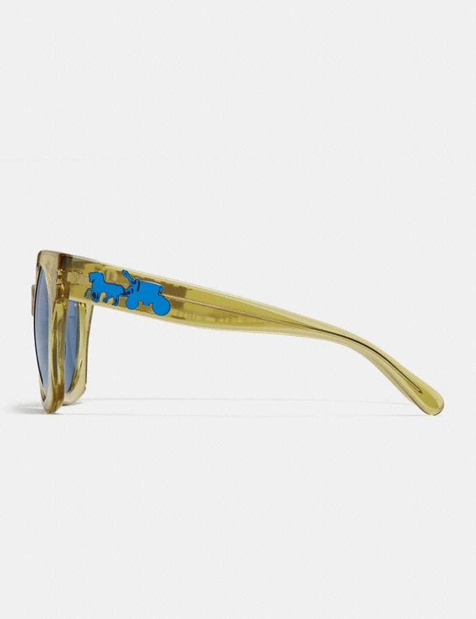 Coach Horse and Carriage Hologram Sunglasses Yellow Translucent/Light Blue Solid Women Accessories Sunglasses Alternate View 3