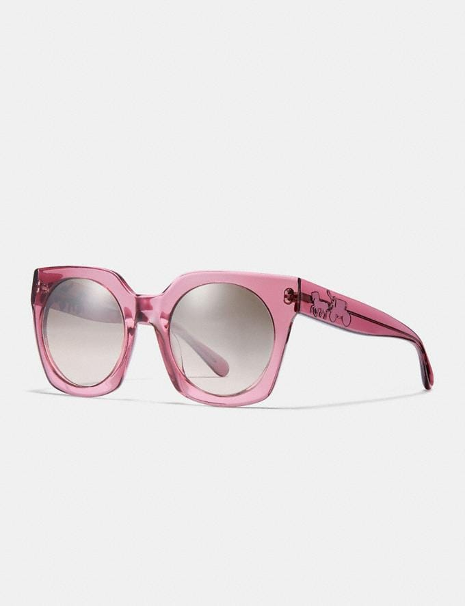 Coach Horse and Carriage Hologram Sunglasses Translucent Pink/Silver Pink Gradient Flash Women Accessories Sunglasses