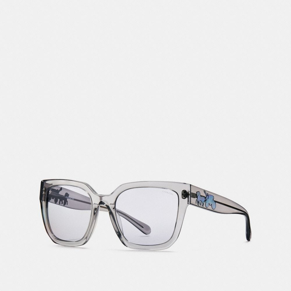 Coach Horse and Carriage Hologram Square Sunglasses