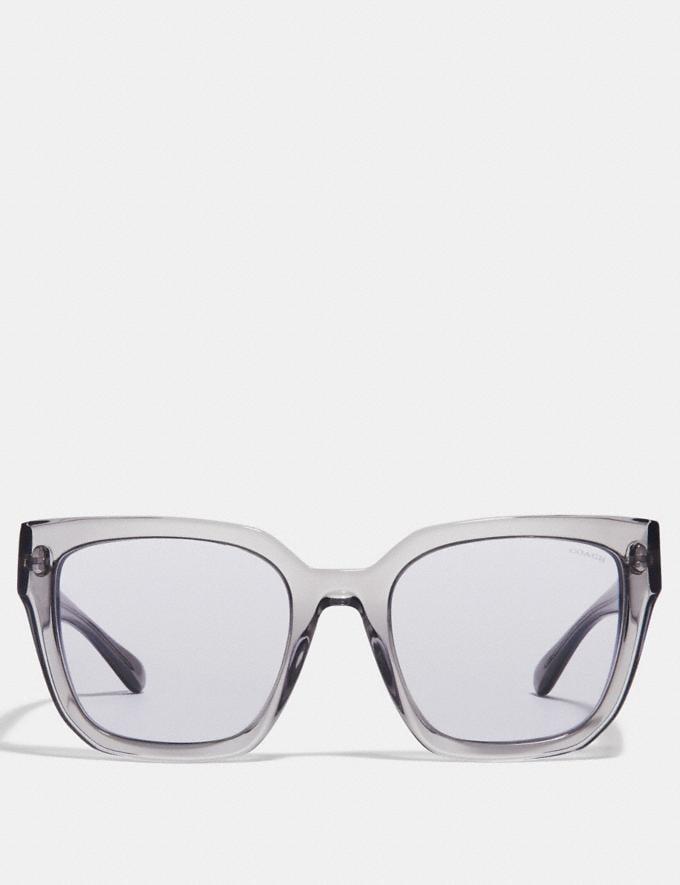 Coach Horse and Carriage Hologram Square Sunglasses Grey Translucent/Violet Lens Women Accessories Sunglasses Alternate View 2