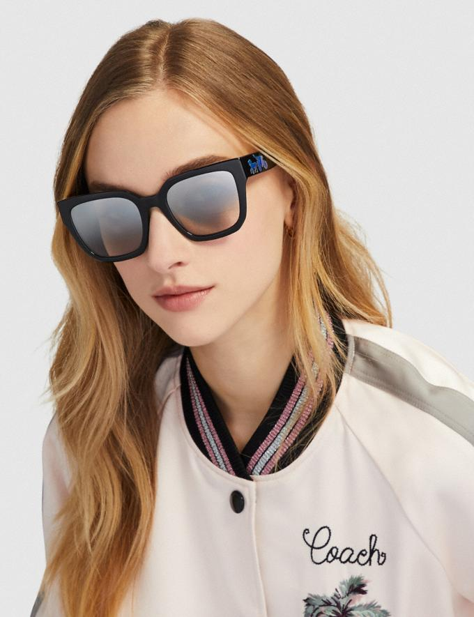 Coach Horse and Carriage Hologram Square Sunglasses Dark Tortoise Women Accessories Sunglasses Alternate View 1