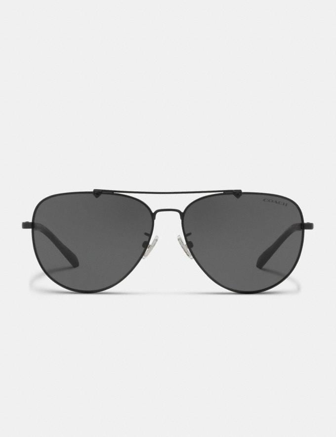 Coach Wire Frame Pilot Sunglasses Matte Black  Alternate View 2
