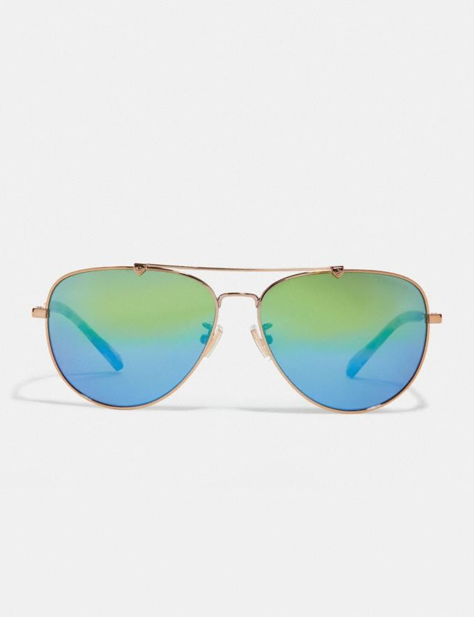 Coach Wire Frame Pilot Sunglasses Shiny Light Gold/Green Mirror Men Accessories Sunglasses Alternate View 2