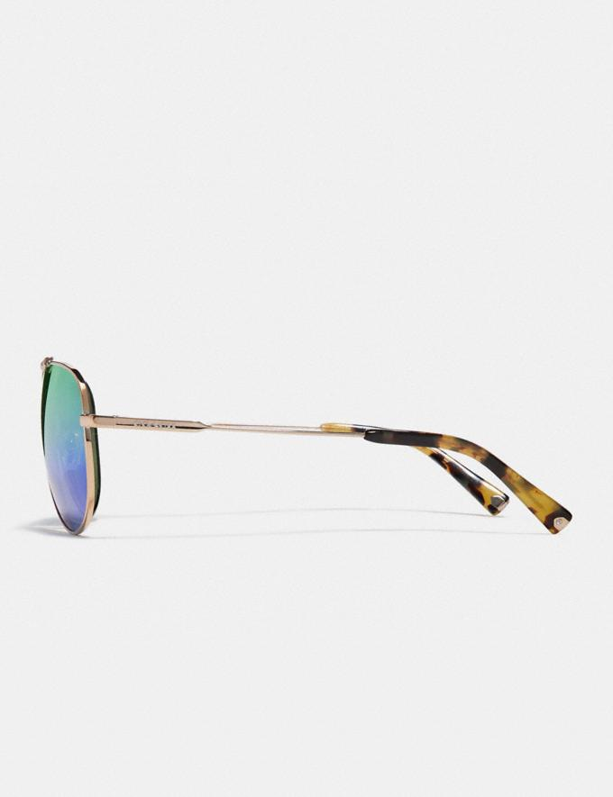 Coach Wire Frame Pilot Sunglasses Shiny Light Gold/Green Mirror Men Accessories Sunglasses Alternate View 3