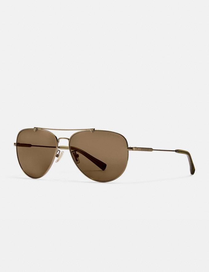 Coach Wire Frame Pilot Sunglasses Shiny Antique Brass/Brown Solid SALE Victoria Day Sale Men's
