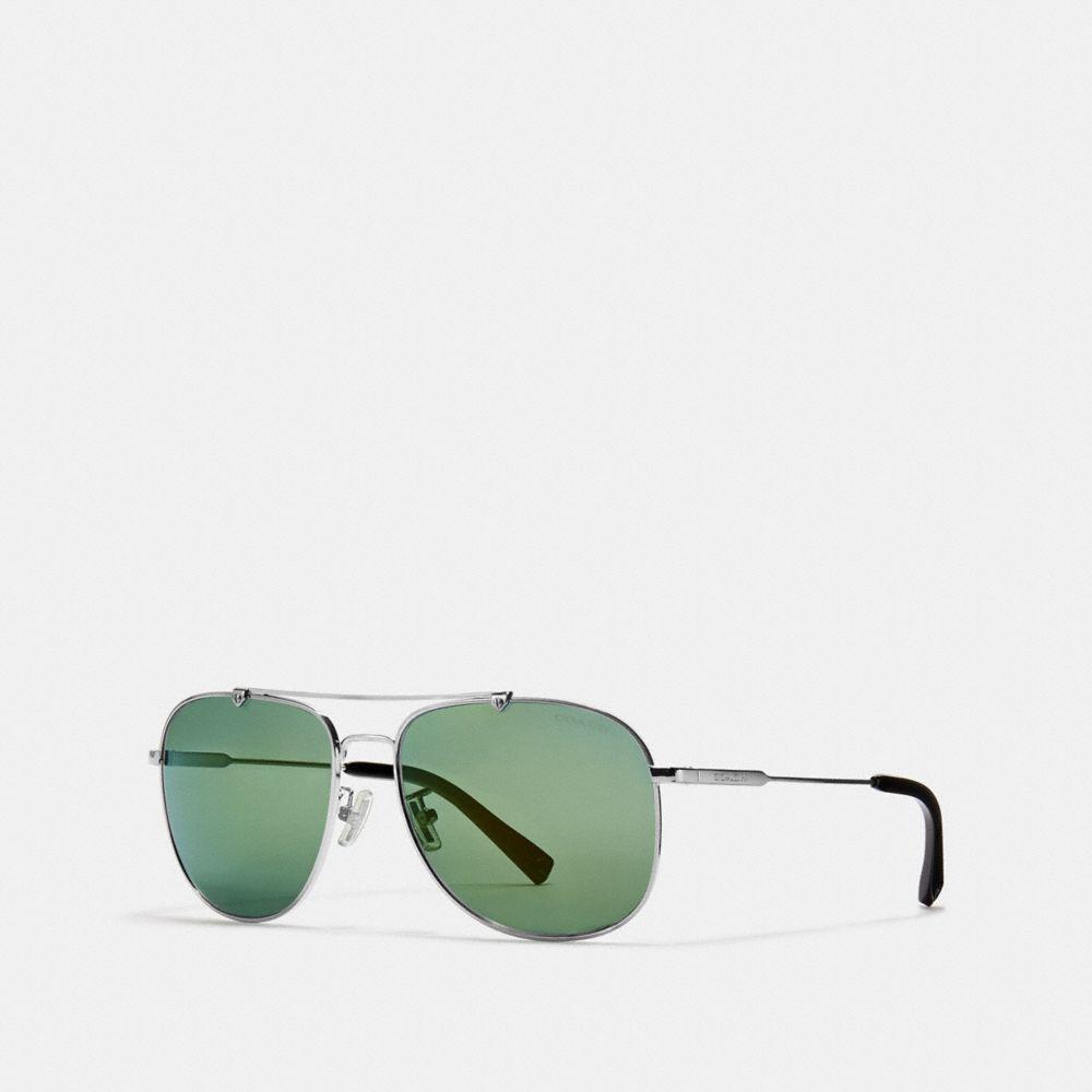 shiny gunmetal/pale green mirror