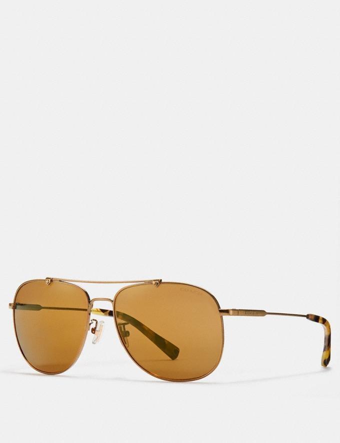 329e0e932f778 Coach Wire Frame Navigator Sunglasses Shiny Antique Brass Brown Flash SALE  Victoria Day Sale Men s