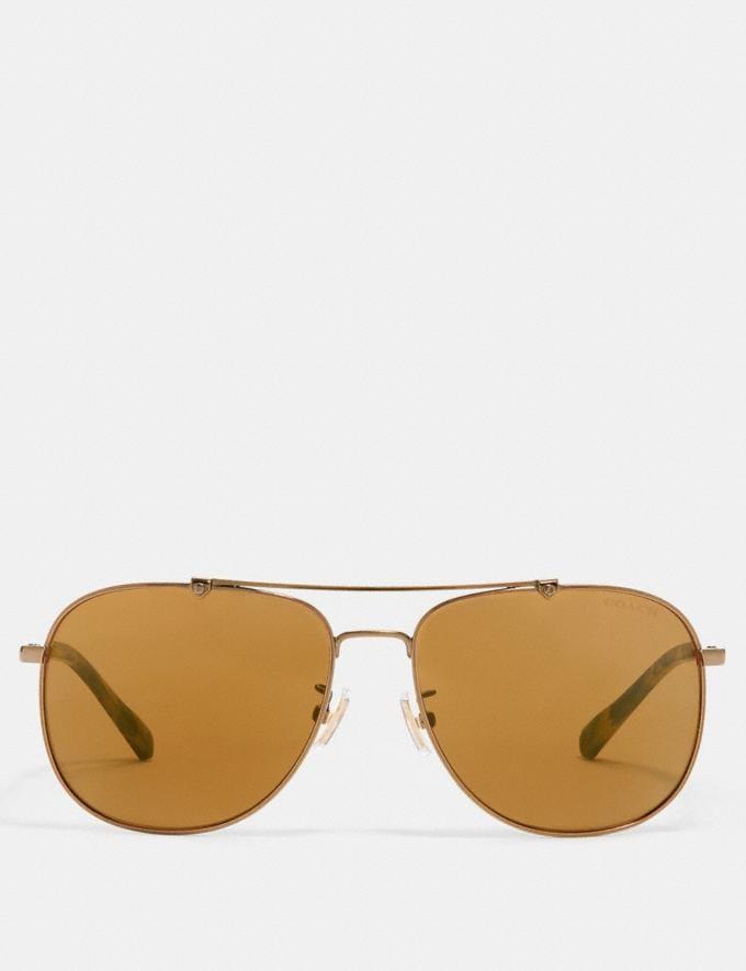 Coach Wire Frame Navigator Sunglasses Shiny Antique Brass/Brown Flash SALE Victoria Day Sale Men's Alternate View 2