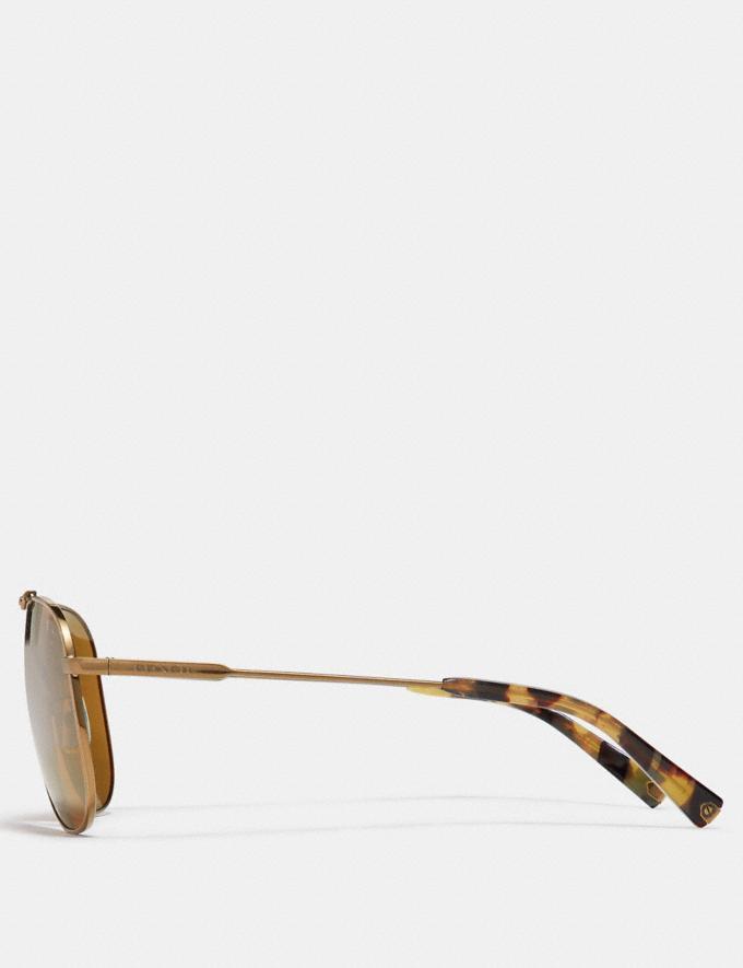 Coach Wire Frame Navigator Sunglasses Shiny Antique Brass/Brown Flash SALE Victoria Day Sale Men's Alternate View 3